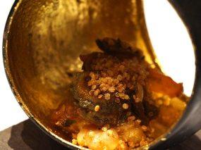 seared prawns, close-up