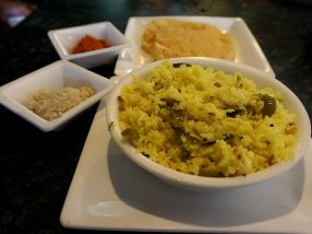 A completely gratuitous lemon rice which was very good but more importantly gets me off the hook off only ordering idlis, vadas and dosas.