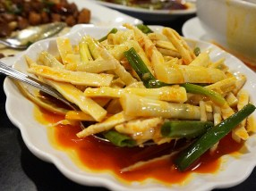 These bamboo shoots are a cold appetizer, and despite the chilli oil they're sitting in the coolness makes them a nice relief from hotter dishes.