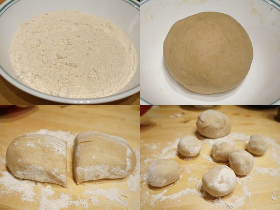 This is two cups of dough, mixed with just enough water to make a sticky dough that turns into a smooth ball after some vigorous kneading. Rest the dough, covered with a paper towel in a bowl, for about 30 minutes. You can do this in or out of the refrigerator.