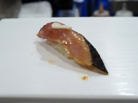 Katsuo or bonito. Nothing great, I thought (though better than the picture).