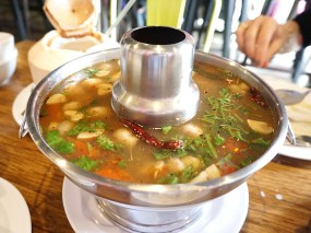 This soup, which I got on the first occasion, was dynamite and probably the best thing I ate there on either occasion. A very hot, very sour soup with braised pork ribs.