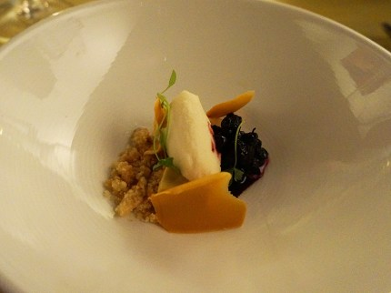 Pedro Ximenez vinegar sorbet with gjetost custard, huckleberry compote and almond milk