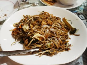 This was perhaps the only acceptable dish, probably because it's not hard to make greasy noodles. This was the second appearance of the combo of sliced veg. that was in everything.