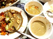 And here are the remnants of the captain's curry, the veg curry and the laksa. You'll have to take my word for the fact that they didn't just look identical.