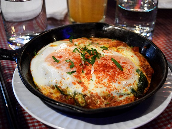 As did this bheeda par beda or egg (eeda) on (par) okra (bheeda). Very little okra and mostly a tomato-heavy curry.