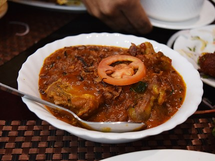 """This mutton roast was also quite good. """"Roast"""" in South Indian cooking doesn't imply a dry roasted dish in the Western sense, as you can see. This had a nice kick but not as much as the next dish."""