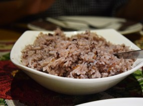 We ate everything with sticky red rice. Regular rice is on offer too.