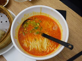 Back at the airport before departure for LAX: a somewhat soupy take on dan dan noodles and bloody excellent.