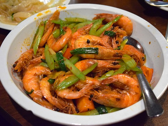 These head-on shrimp, however, are very good and quite lethal if asked to be made spicy.