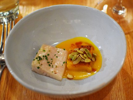 Piccolo: Smoked sturgeon with butternut squash jus and pepitas
