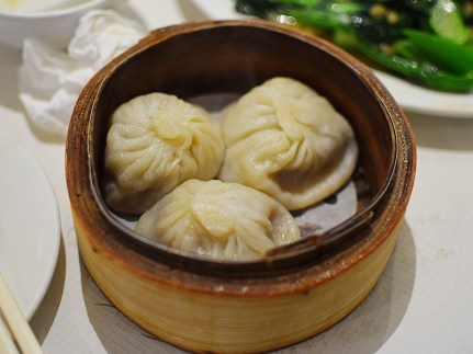 We ordered two of the soup dumplings---it's three to an order and we wished to avoid marital strife. These were a good size but more meaty than juicy and a little hard to eat.