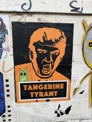 Yes. This stencil of Trump shows up on a lot of walls, with different captions.
