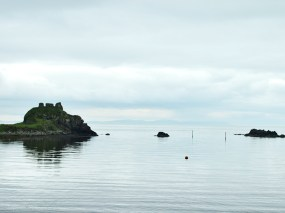 Lagavulin: A view of Dunyvaig castle from the distillery.