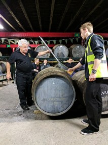 Sucking whisky out of a cask with a valinch is not as easy as Pinkie made it seem as he drew out the 5 yo.