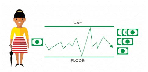 Fixed index annuity rates & crediting method cartoon illustration