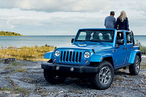 Blue Jeep Wrangler on scenic overlook with lake in background