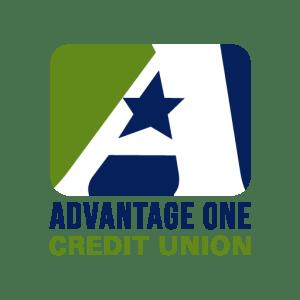 Dark Blue and Green Advantage One Credit Union Logo