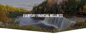 View of Upper Tahquamenon Falls in early Fall with Everyday Financial Wellness title superimposed over image