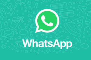 WhatsApp logo - WhatsApp text with dialog balloon filled with grass green fill color with white classic rotary phone handset icon in balloon