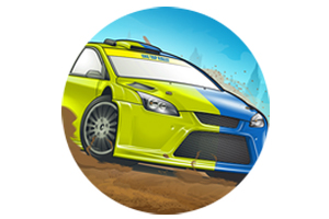 Rendering of a blue & green rally car on a dirt track