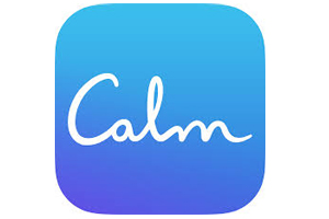 "round corner button with ""calm"" in script font"