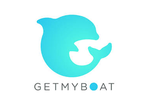 get my boat logo - aqua dolphin silhouette over Get My Boat text