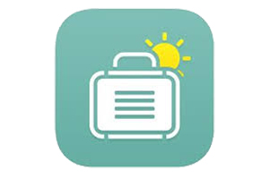 PackPoint logo - ilustrated white suitcase with stylized sun coming up behind suitcase on teal background.