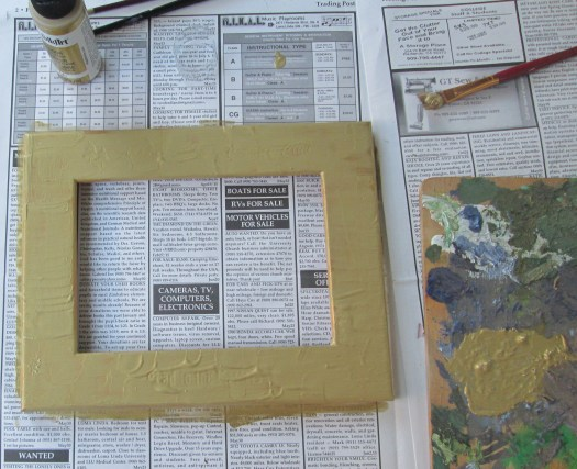 Add a couple of layers of metallic paint and let these dry according to the directions on the bottle.
