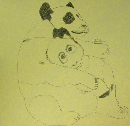 Here I am beginning to color in the ears of the mom and baby pandas.