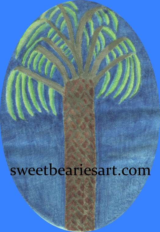 This simple palm tree design was created with fabric markers.