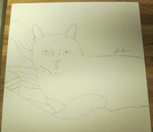 I used a pencil to make the transferred outline drawing of Irina the cat stand out.