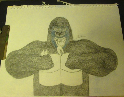 Now the gorilla's fur is completely drawn on.