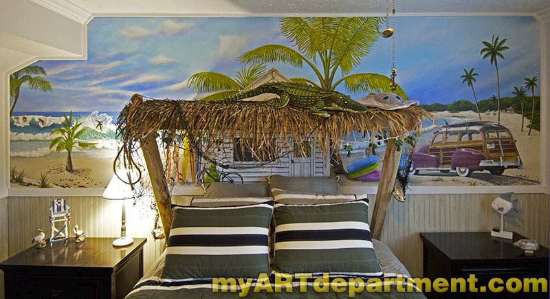 Bedroom Beach Mural Boys Room