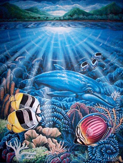 original artist painting acrylic paint tropical fish