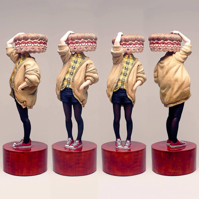 Wooden Sculpture by Yoshitoshi Kanemaki Different