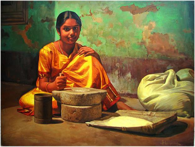 girl indian paintings by ilayaraja -  13