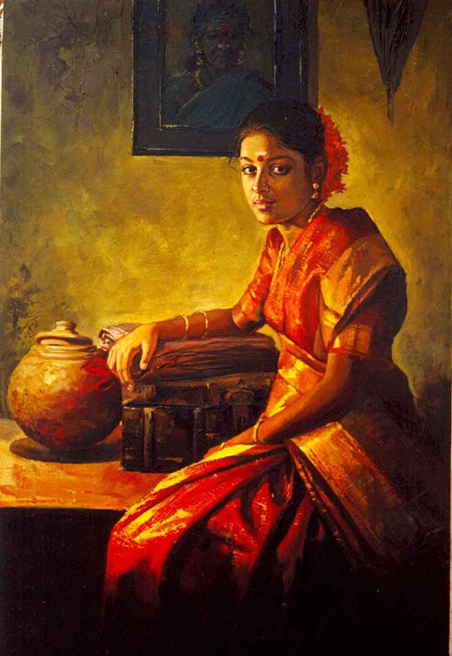 indian painting tamil woman ilayaraja -  6