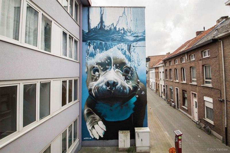 1. diving-dog-street-art-mural-smates-bart-smeets-1