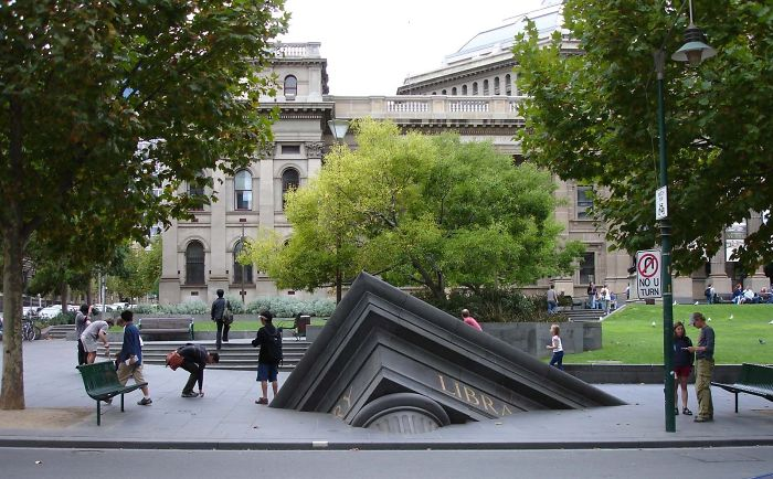 11. Building sinking outside the State Library, Melbourne, Australia