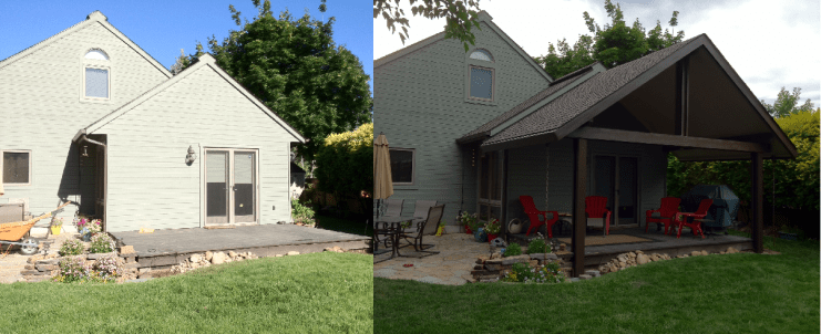 Insulated cover. shingled. before and after