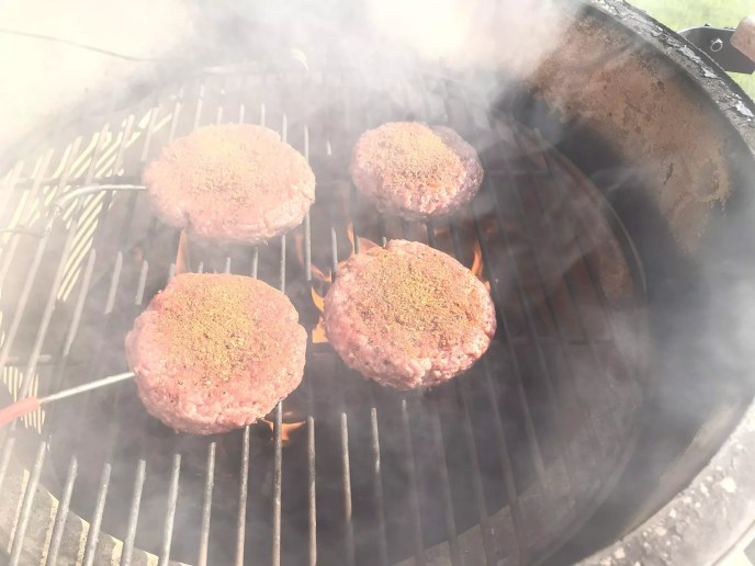 Placing Burgers on the Big Green Egg