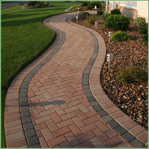 holland stone with spacers backyard