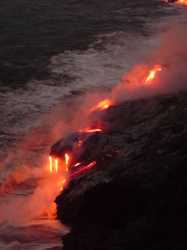 Dawn with the lava and ocean