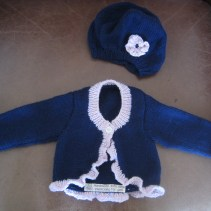 Cardigan and beret for Grand-baby T