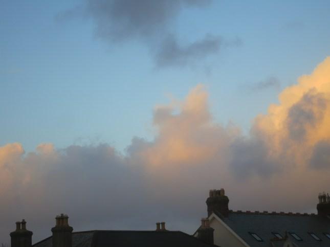 Dusk falling over rooftops