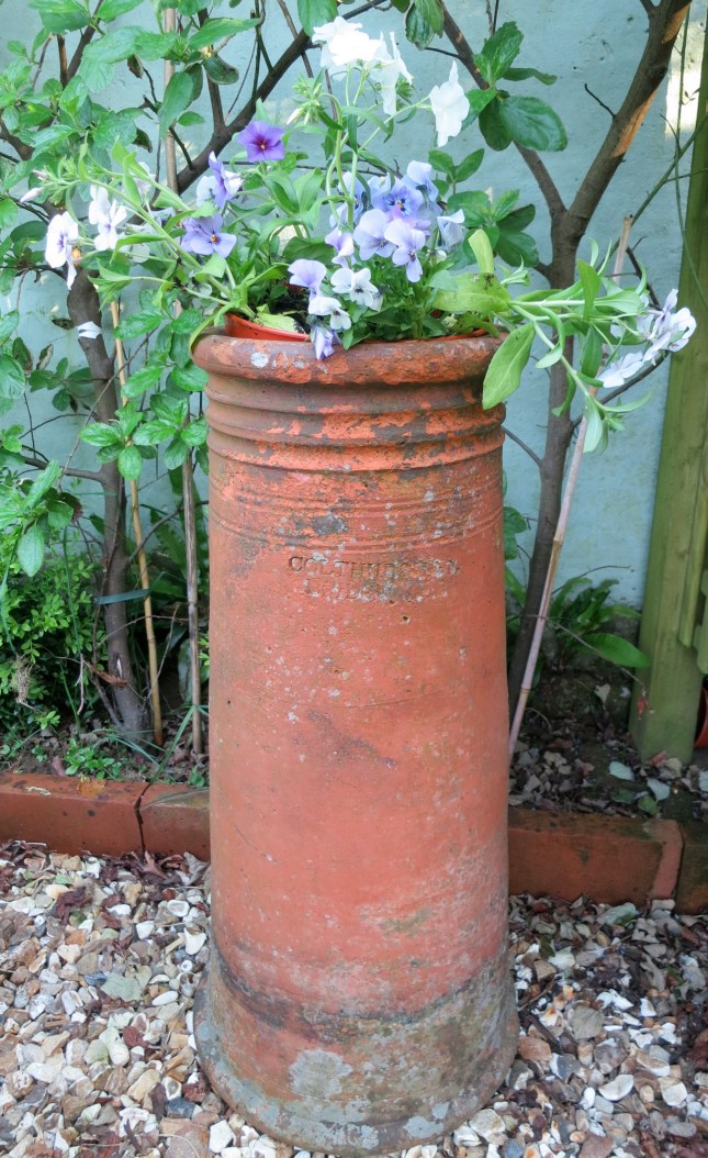 Tall chimney planted with scented flowers