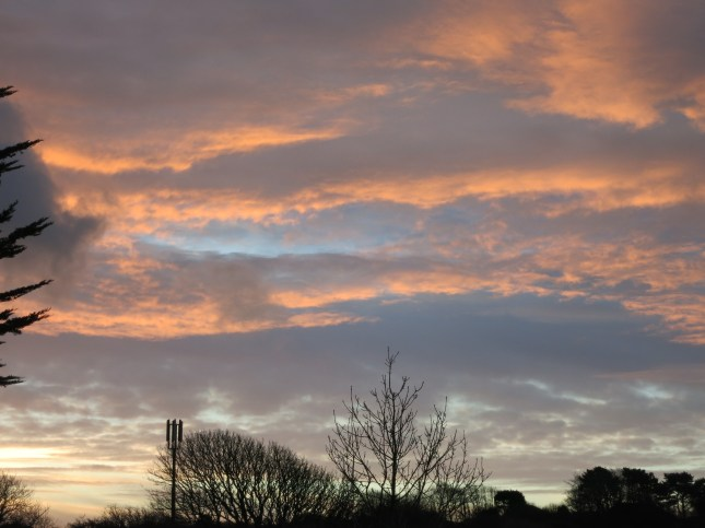 Dawn streaks across the sky