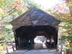 Looking inside a covered bridge in the White Mountains, Vermont