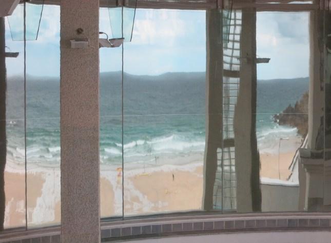 Porthmeor Beach in reflection